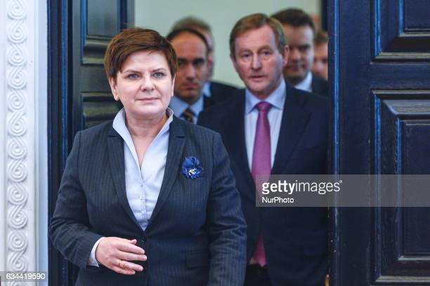 The Prime Minister of Poland Beata Szydlo and the Taoiseach Enda Kenny arrive at the press conference at the Prime Ministeroffice in Warsaw On...