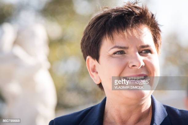 The Prime Minister of Poland Beata Szydlo arrives at Bratislava Castle for a Summit on Equal Quality of Products for All in Bratislava Slovakia on...