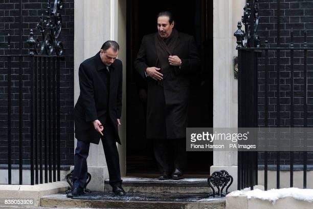 The Prime Minister of Qatar Hamad bin Jassim bin Jaber Al Thani leaves 10 Downing Street London after meeting British Prime Minister Gordon Brown