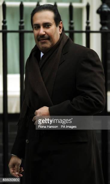 The Prime Minister of Qatar Hamad bin Jassim bin Jaber Al Thani arrives in Downing Street London to meet British Prime Minister Gordon Brown