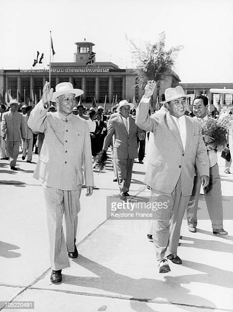 The Prime Minister Of The Democratic People'S Republic Of North Korea Kim Il Sung Leaving Beijing'S Airport With The President Of The Popular Chinese...