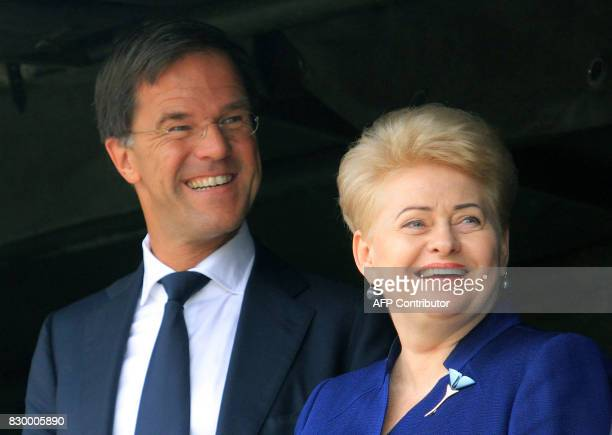 The Prime Minister of The Netherlands Mark Rutte and Lithuanian President Dalia Grybauskaite visit soldiers serving in the NATO enhanced Forward...
