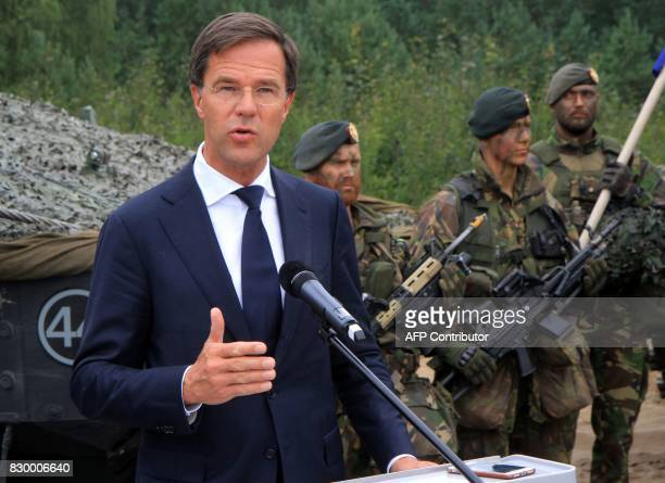 The Prime Minister of The Netherlands Mark Rutte talks to soldiers serving in the NATO enhanced Forward Presence battalion battle group in Rukla...
