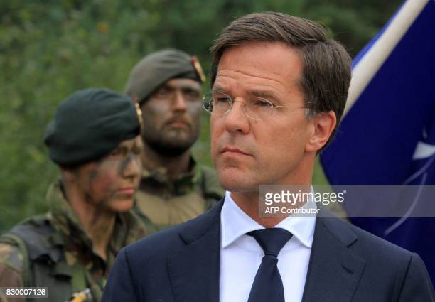 The Prime Minister of The Netherlands Mark Rutte visits soldiers serving in the NATO enhanced Forward Presence battalion battle group in Rukla...