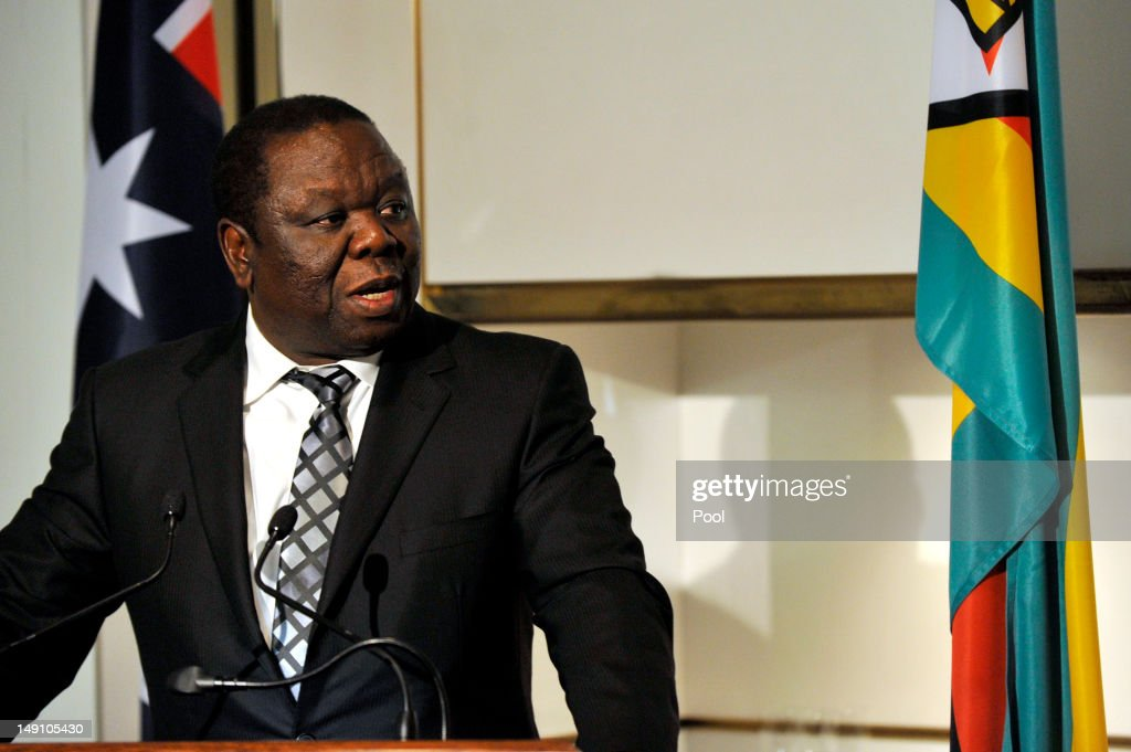 The Prime Minister of Zimbabwe <a gi-track='captionPersonalityLinkClicked' href=/galleries/search?phrase=Morgan+Tsvangirai&family=editorial&specificpeople=800701 ng-click='$event.stopPropagation()'>Morgan Tsvangirai</a> speaks during a lunch at Parliament House on July 23, 2012 in Canberra, Australia. Australia is the third largest donor to Zimbabwe with assistance focused on water, sanitation and economic growth.