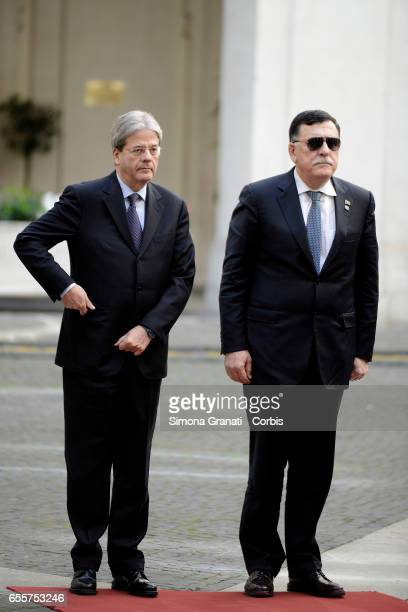 The prime minister Paolo Gentiloni receives at Palazzo Chigi the Libyan Prime Minister Fayez alSarrajon March 20 2017 in Rome Italy