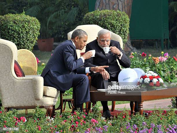 The Prime Minister Shri Narendra Modi in 'One on One' Talks on the tea with the US President Mr Barack Obama at Hyderabad House