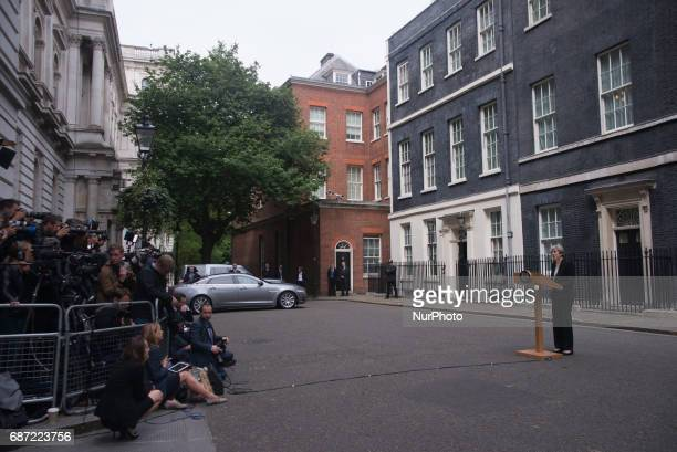 The Prime Minister Theresa May is pictured while speaks to the media at Downing Street following the Manchester terror attack London on May 23 2017...