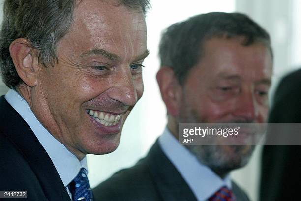 The Prime Minister Tony Blair and the Home Secretary David Blunkett during their visit to the asylum screening unit in Croydon South London 27 August...
