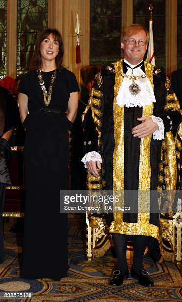 The Prime Minister's wife Samantha Cameron with The Lord Mayor of London David Wotton in the Great Hall at the Guildhall in the City of London for...