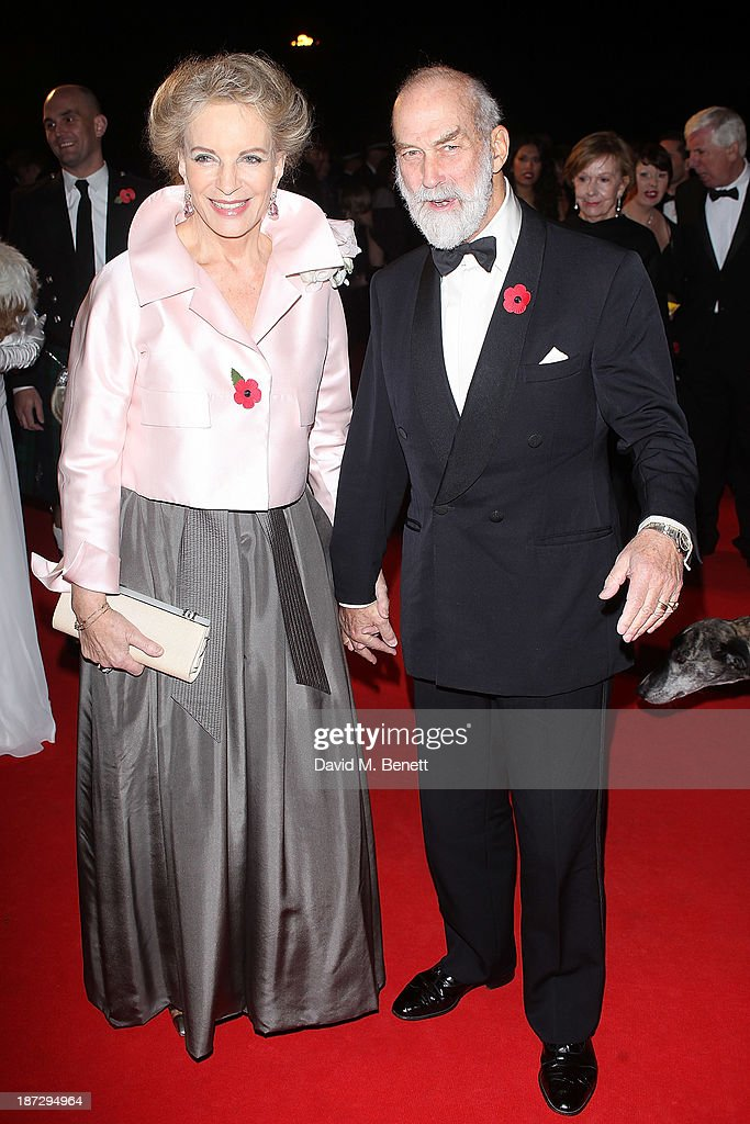 The Prince and <a gi-track='captionPersonalityLinkClicked' href=/galleries/search?phrase=Princess+Michael+of+Kent&family=editorial&specificpeople=160260 ng-click='$event.stopPropagation()'>Princess Michael of Kent</a> attend the annual Collars and Coats gala ball in aid of Battersea Dogs & Cats home at Battersea Evolution on November 7, 2013 in London, England.