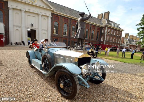 The Prince and Princess Michael of Kent on board a1913 Rolls Royce ahead of their departure from the Royal Hospital Chelsea as part of the Great War...