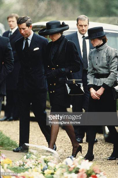 The Prince and Princess of Wales arrive at Great Brington Church for the funeral of her father Earl Spencer March 1992 Diana's sister Sarah...