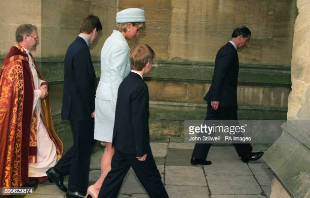 The Prince and Princess of Wales arrive with their sons Prince Harry and Prince William at St George's Chapel in Windsor