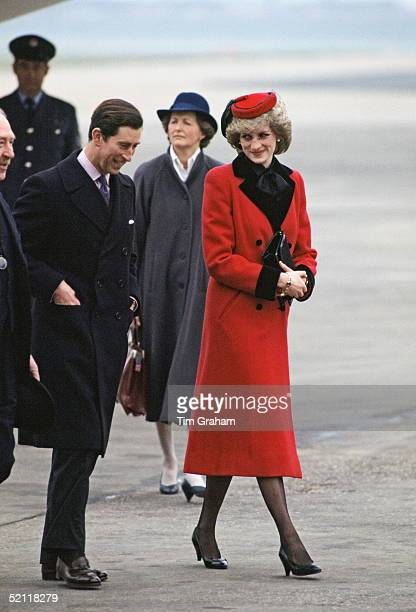 The Prince And Princess Of Wales Arriving In Birmingham For An Official Visit
