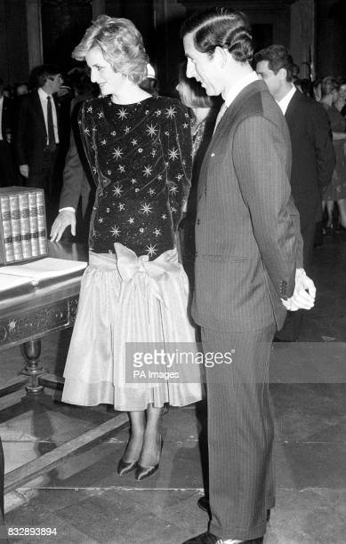 The Prince and Princess of Wales at the banquet given by the Mayor of Florence at the Town's Palazzo Vecchio The Princess wears a low waisted calf...