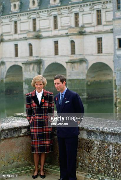 The Prince and Princess of Wales at the Chateau Chenonceaux
