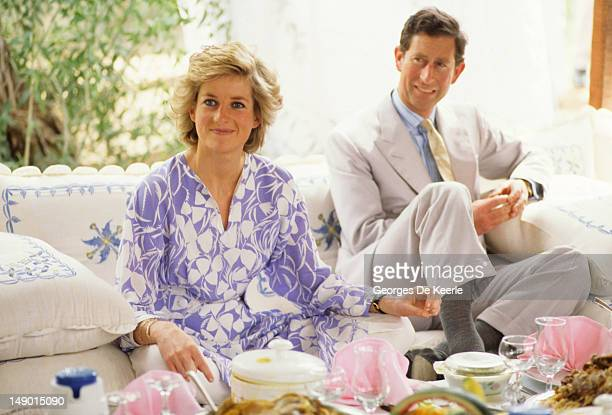 The Prince And Princess Of Wales attend a desert picnic on March 15 1989 in Adu Dhab United Arab Emirates