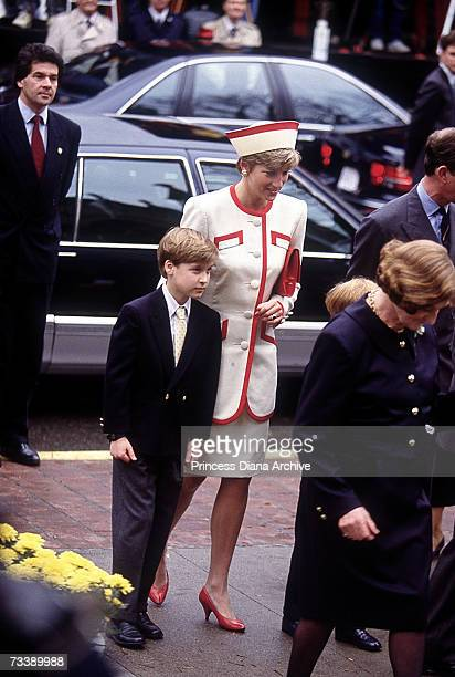 The Prince and Princess of Wales attend Sunday service at St James' Church Toronto with their sons William and Harry October 1991