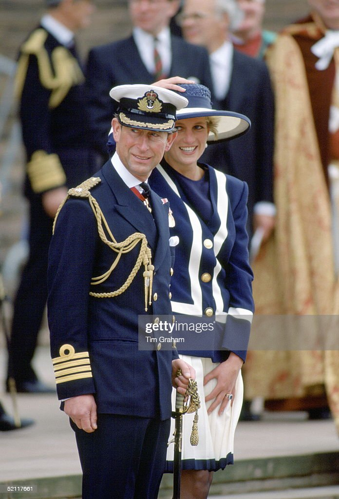 The Prince And Princess Of Wales Attending The Battle Of The Atlantic Commemorative Service In Liverpool. <a gi-track='captionPersonalityLinkClicked' href=/galleries/search?phrase=Princess+Diana&family=editorial&specificpeople=167066 ng-click='$event.stopPropagation()'>Princess Diana</a> Is Holding Her Hat To Stop It From Blowing Away.