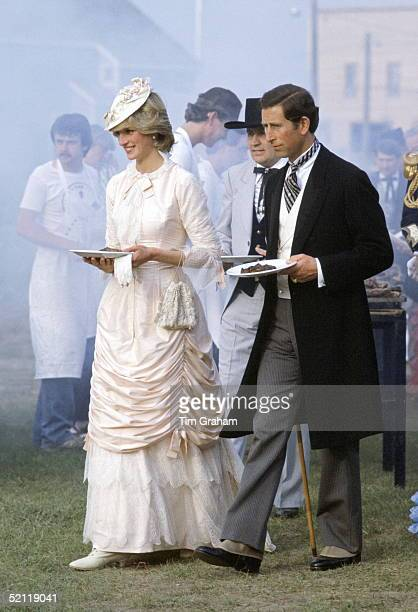 The Prince And Princess Of Wales Dressed In Costume For A Barbeque At Fort Edmonton In Canada