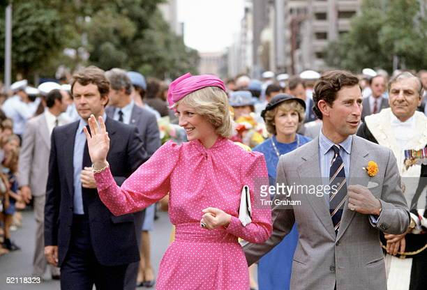 The Prince And Princess Of Wales During A Walkabout In Perth Australia