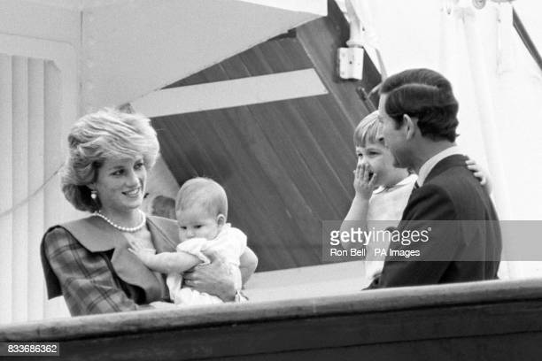 The Prince and Princess of Wales happily reunited with their children Princes William and Harry aboard the Royal Yacht Britannia after a 17 day...