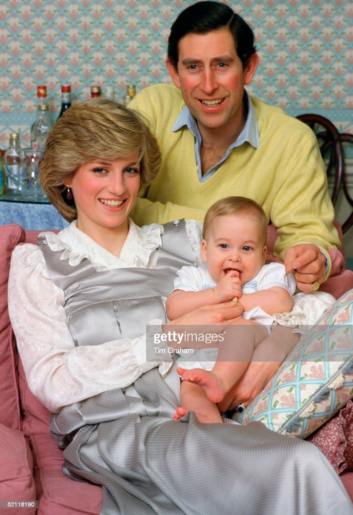 The Prince And Princess Of Wales Holding Their Baby Son, <a gi-track='captionPersonalityLinkClicked' href=/galleries/search?phrase=Prince+William&family=editorial&specificpeople=178205 ng-click='$event.stopPropagation()'>Prince William</a>, At Home In Kensington Palace