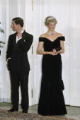 The Prince And Princess Of Wales In Germany Attending An Evening Function She Is Wearing A Dress Designed By Fashion Designer Victor Edelstein
