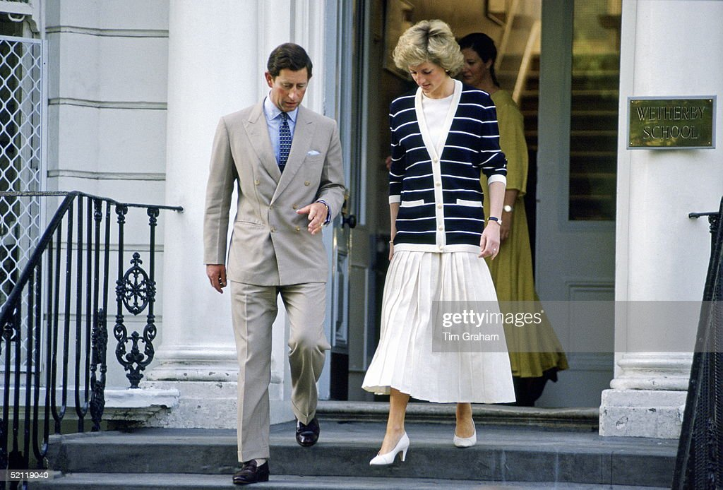 The Prince And Princess Of Wales Leaving Prince Williams' School In London