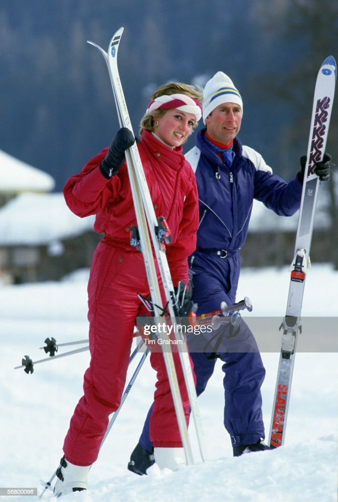 The Prince and Princess of Wales on a skiing holiday in Klosters Switzerland