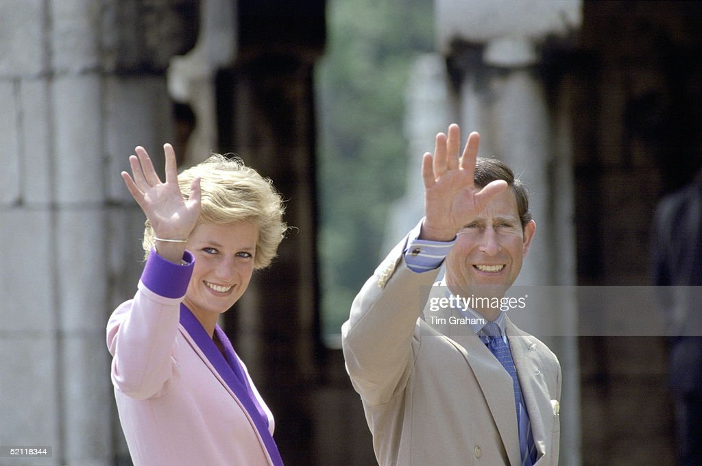 The Prince And Princess Of Wales Waving During A Trip To Budapest, Hungary