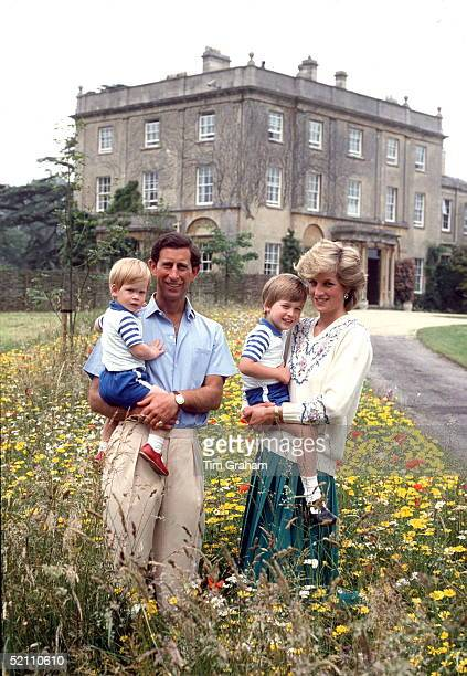 The Prince And Princess Of Wales With Prince William Prince Harry In The Wild Flower Meadow At Highgrove Bought For His Use By The Duchy Of Cornwall