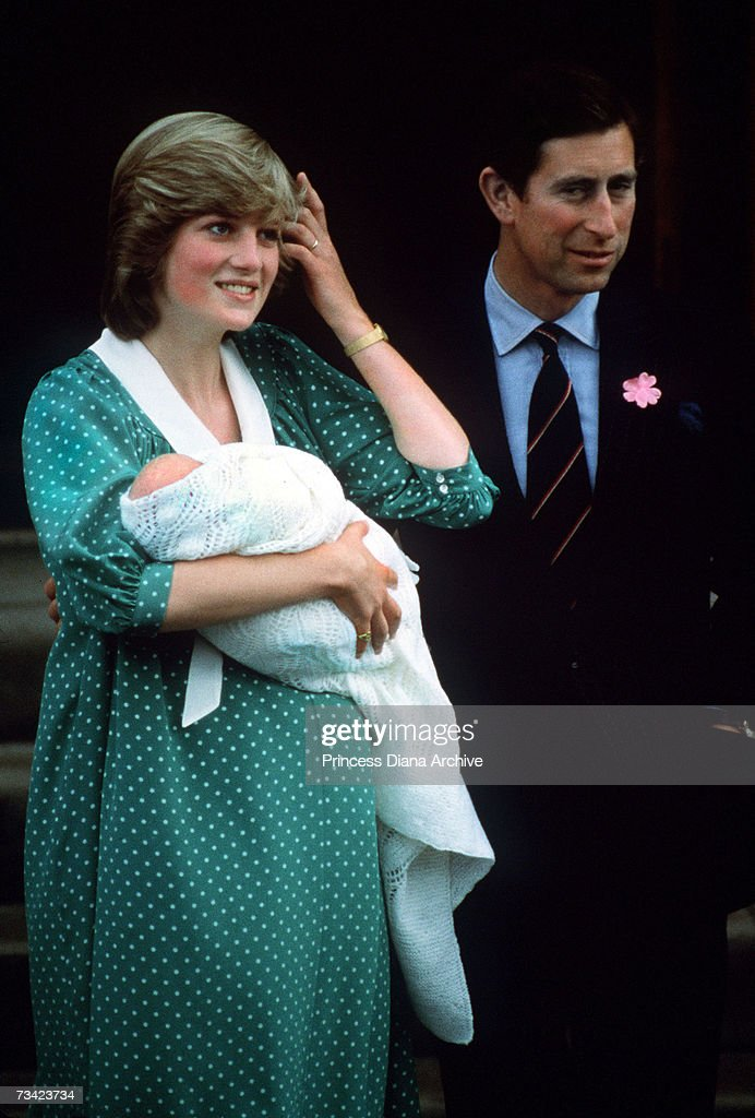 The Prince and Princess of Wales with their newborn son <a gi-track='captionPersonalityLinkClicked' href=/galleries/search?phrase=Prince+William&family=editorial&specificpeople=178205 ng-click='$event.stopPropagation()'>Prince William</a> on the steps of St Mary's Hospital, London, June 1982.