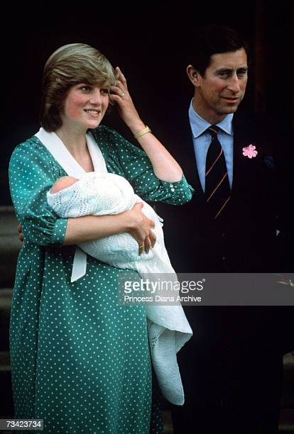 The Prince and Princess of Wales with their newborn son Prince William on the steps of St Mary's Hospital London June 1982
