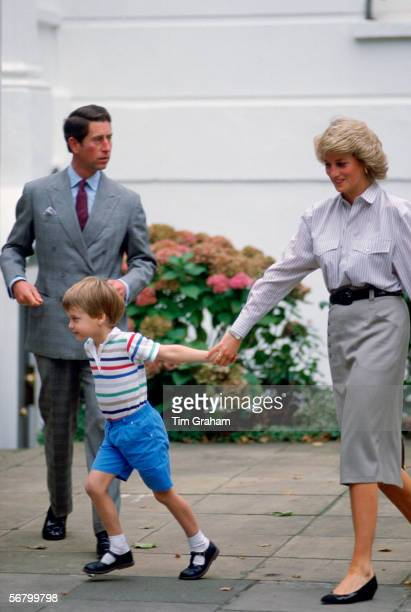The Prince and Princess of Wales with their son Prince William having just dropped their other son Prince Harry off at nursery school for his first...
