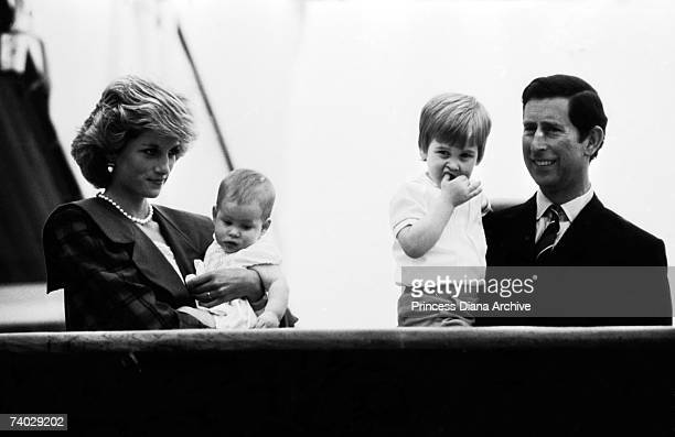 The Prince and Princess of Wales with their sons Prince William and Prince Harry on the Royal Yacht Britannia in Venice 6th May 1985