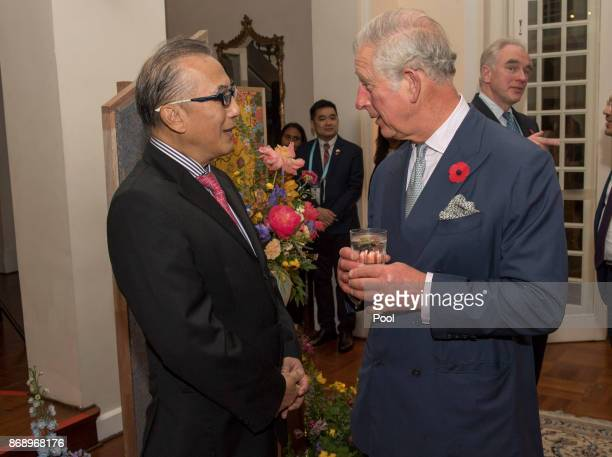 The Prince chats to Mr Sonny Verghese Chairman World Council for Sustainable Development as Their Royal Highnesses The Prince of Wales and The...