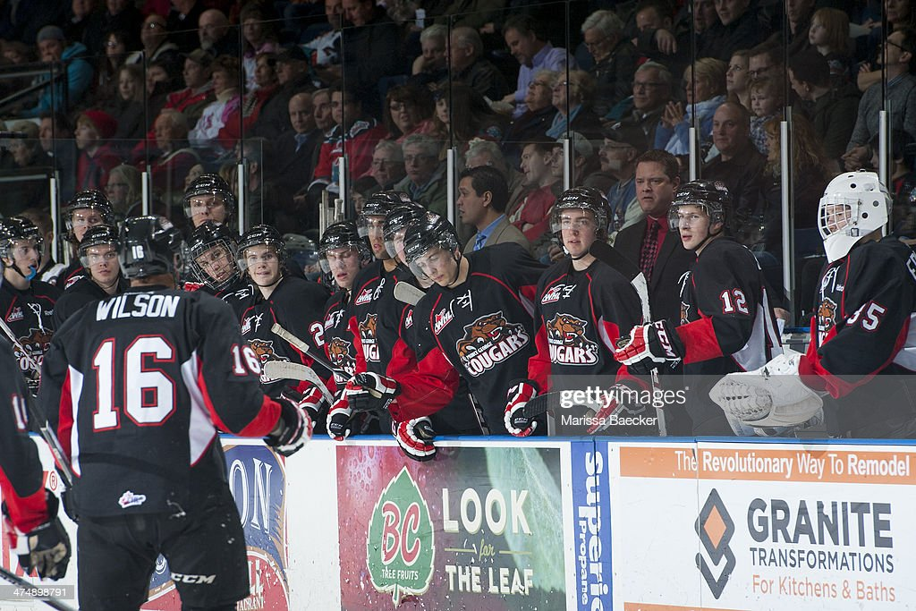 The Prince George Cougars celebrate a goal against the Kelowna Rockets on February 25, 2014 at Prospera Place in Kelowna, British Columbia, Canada.