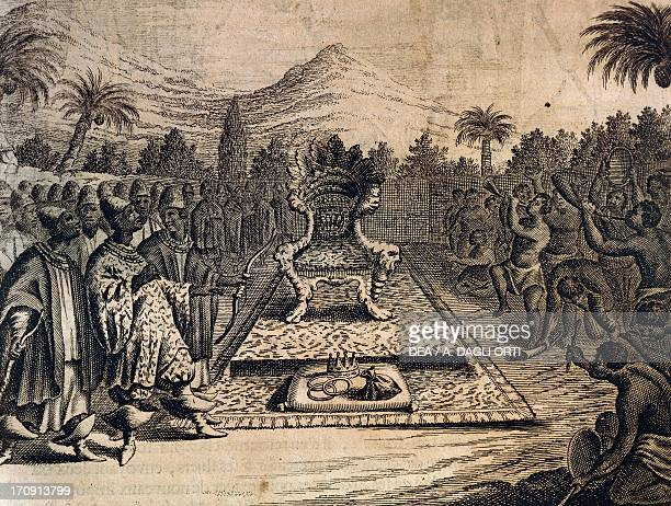 The prince of Lower Ethiopia's royal throne engraving from Description of Africa by Olfert Dapper Amsterdam 1686 Africa 17th century Venice...