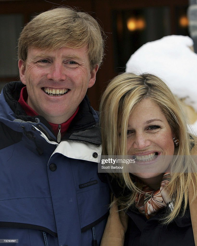 The Prince of Orange Prince Willem-Alexander (L) and Princess Maxima pose for photographs at the start of their annual Austrian skiing holiday on February 11, 2006 in Lech, Austria.