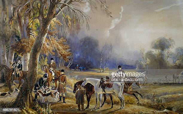 The Prince of Wagram's hunt The departure watercolour by Francois Gabriel Guillaume Lepaulle