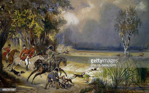 The Prince of Wagram's hunt The sighting watercolour by Francois Gabriel Guillaume Lepaulle