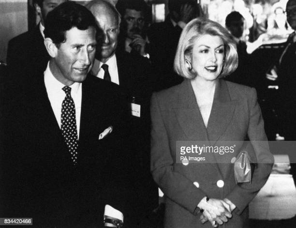 The Prince of Wales accompanied by Lady Tryon as he arrives at the Savoy Hotel London to launch an appeal for SANE of which he is a patron