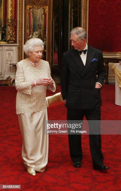 CROP The Prince of Wales and Britain's Queen Elizabeth II at Buckingham Palace in London where they are to attend a private reception and concert as...