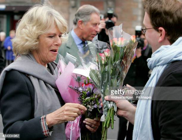 The Prince of Wales and Duchess of Cornwall meeting with the public outside the old railway station in Ballater Royal Deeside where a reproduction...
