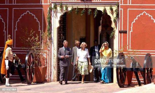 The Prince of Wales and Duchess of Cornwall walk with Maharani Padmini Devi through the Rambagh Palace in Jaipur Friday March 31 2006 The royal...