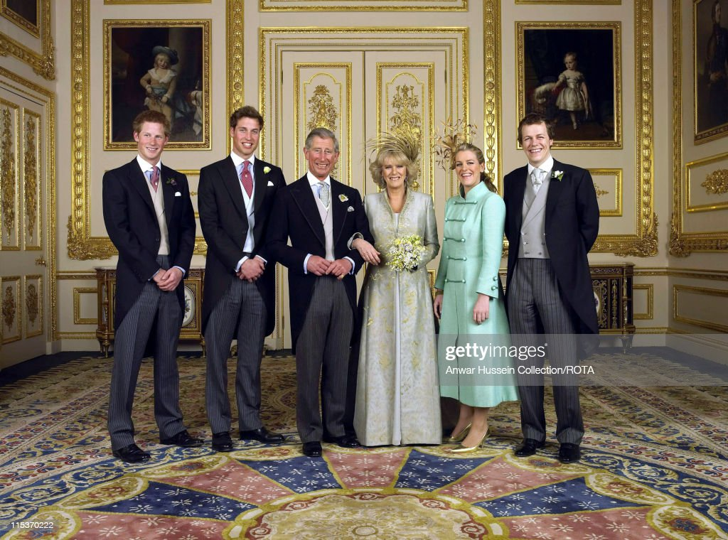 The Prince of Wales and his new bride Camilla Duchess of Cornwall with their children Prince Harry Prince William Laura Parker Bowles and Tom Parker...