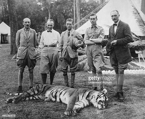 The Prince of Wales and his prize tiger that he shot on his hunting expedition into the Himalayas Nepal January 29 1922 From left Lord Cromer Sir...