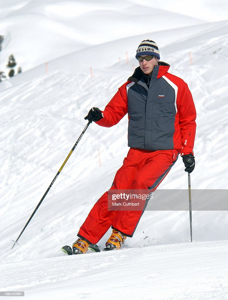 The Prince Of Wales And Prince William Skiing In Klosters Switzerland